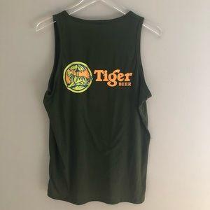 Vintage Tiger Beer Tank Top Shirt Green Brewery